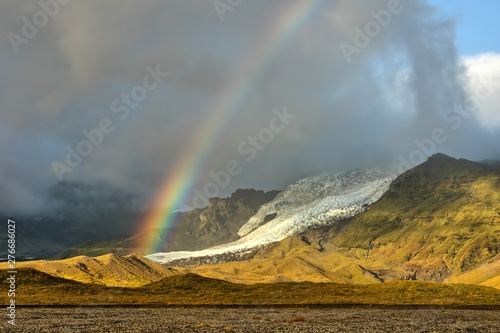 Vatnajökull National Park with rainbow over glacier