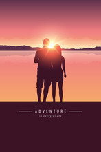 Couple Silhouette By The Lake With Mountain Landscape At Sunset Adventure Design Vector Illustration EPS10