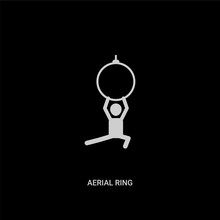 White Aerial Ring Vector Icon On Black Background. Modern Flat Aerial Ring From Circus Concept Vector Sign Symbol Can Be Use For Web, Mobile And Logo.