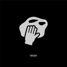 White Wash Vector Icon On Blac...