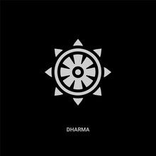 White Dharma Vector Icon On Black Background. Modern Flat Dharma From Religion Concept Vector Sign Symbol Can Be Use For Web, Mobile And Logo.