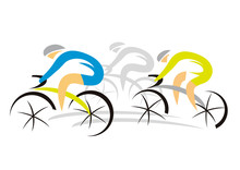Three Sport Road Cyclists.  Colorful Abstract  Stylized Illustration Of Three Racing Cyclist. Isolated On White Background. Vector Available.