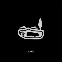 White Lake Vector Icon On Black Background. Modern Flat Lake From Summer Concept Vector Sign Symbol Can Be Use For Web, Mobile And Logo.