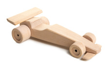 Handmade Wooden Toy Car On White Background.Racing Car