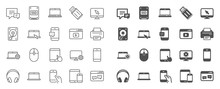 Mobile Device Line Icons. Laptop, Tablet PC And Smartphone Icons. HDD, SSD And Flash Drive. Headphones, Printer And Tablet Device. Mouse, Ssd Disk, Mobile Laptop. Memory Hdd Drive. Quality Sign Set