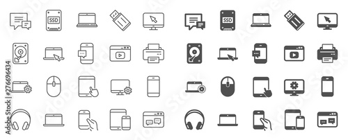 Obraz Mobile device line icons. Laptop, Tablet PC and Smartphone icons. HDD, SSD and Flash drive. Headphones, Printer and tablet device. Mouse, ssd disk, mobile laptop. Memory hdd drive. Quality sign set - fototapety do salonu