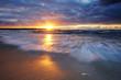 Zachód słońca na wybrzeżu Morza Bałtyckiego,Kołobrzeg,Polska.