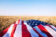 American Flag Spread In Wheat Field On Sunny Bright Day. Concept Of Representing Strong Agriculture, Economy And Freedom.