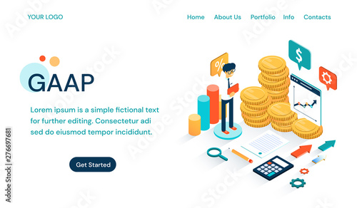 GAAP - Generally Accepted Accounting Principles website template Fototapet
