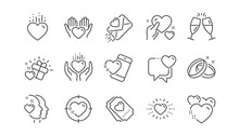 Love Line Icons. Gift Box, Heart And Romantic Letter. Wedding Rings, Glasses With Champagne, Love Heart Icons. Linear Set. Vector