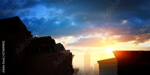 City and buildings on summe...