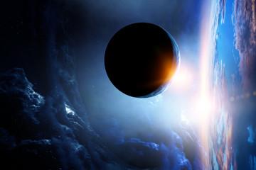 Space beauty on planet orbit.