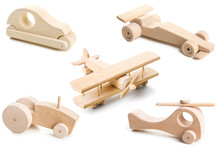 Set Of Wooden Toy On White Background.