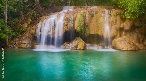Spoed Fotobehang Watervallen Beautiful waterfall at Erawan national park, Thailand. Panorama