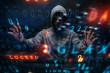 canvas print picture - Hacker in hoodie dark theme
