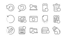Recovery Line Icons. Backup, R...