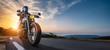 Leinwandbild Motiv motorbike on the road riding. having fun driving the empty highway on a motorcycle tour journey
