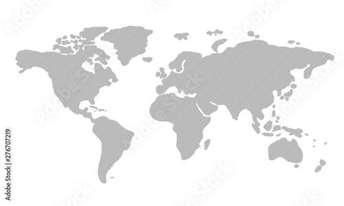 Fotografie, Tablou  ストライプで描かれた世界地図