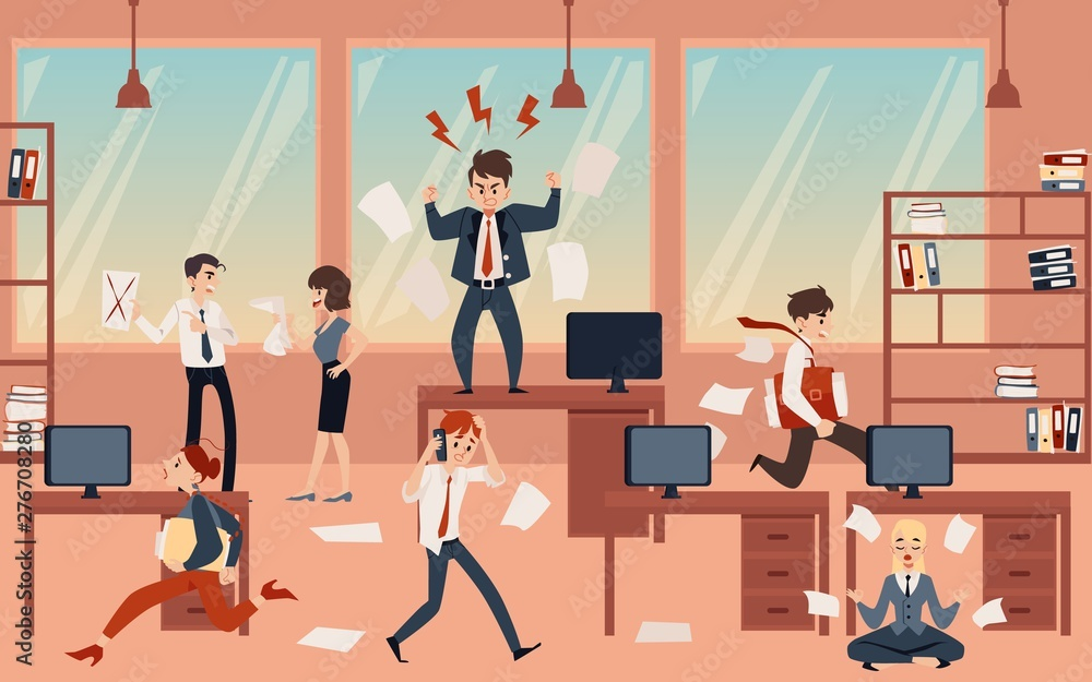 Fototapeta The concept of office chaos in business with the boss, businessmen and employees before deadline.
