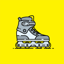 Inline Skates Line Icon. Roller Skate Blades Graphic Isolated On Yellow Background. Vector Illustration.