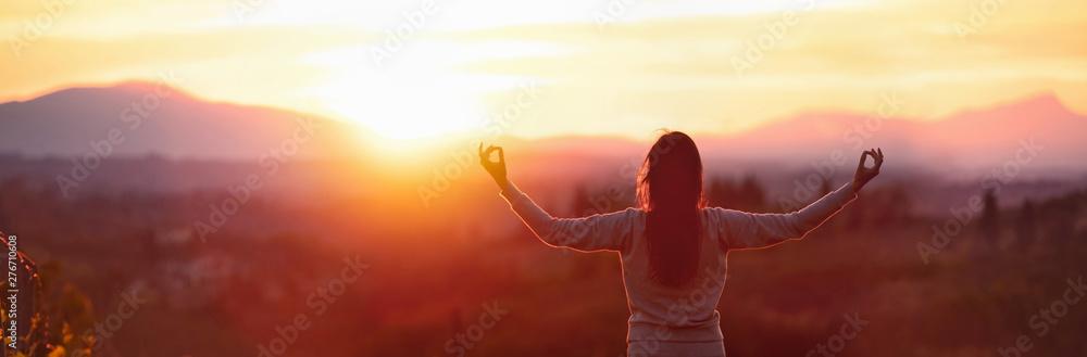 Fototapety, obrazy: Yoga Woman Meditating At Sunset