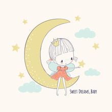 Cute Little Fairy On The Moon. Girlish Vector Illustration