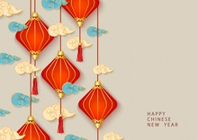 Chinese New Year Banner With Red Lanterns Vector Illustration On Background.