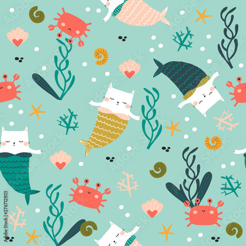 plakat Seamless pattern with cat mermaid under water. Cute kids textile print. Vector hand drawn illustration.