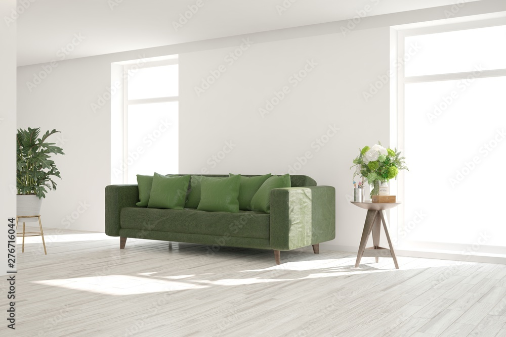 Fototapety, obrazy: Stylish room in white color with sofa. Scandinavian interior design. 3D illustration