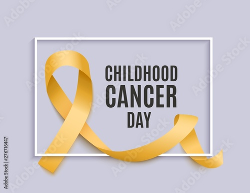 Valokuva Childhood cancer day banner with yellow curly ribbon and frame realistic style
