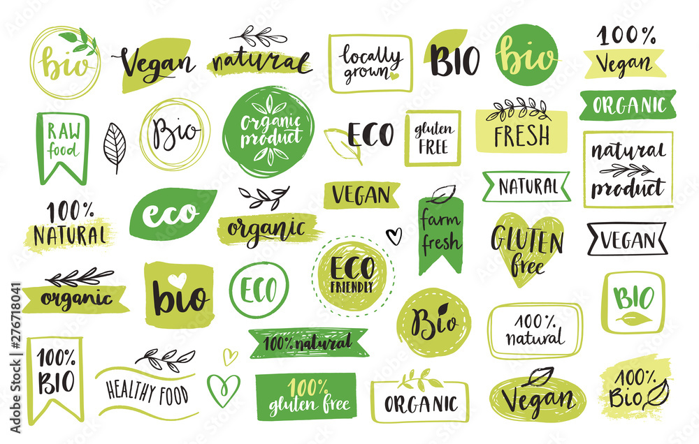 Fototapeta Organic food, eco, vegan and natural product icons and elements set for food market, ecommerce, organic products packaging, healthy life promotion, restaurant Hand drawn vector design elements.
