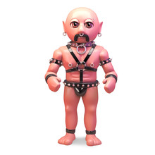 Bald Gay Fetish Man In Bondage Outfit Stands Firm, 3d Illustration