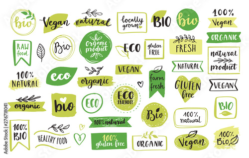 Organic food, eco, vegan and natural product icons and elements set for food market, ecommerce, organic products packaging, healthy life promotion, restaurant Hand drawn vector design elements.