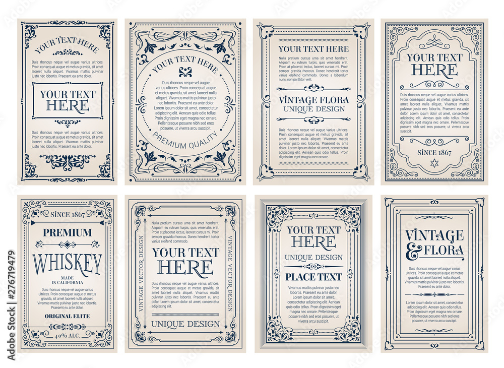 Vintage Creative Cards Template With Beautiful Flourishes