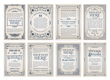 Vintage Creative Cards Template With Beautiful Flourishes Ornament Elements. Elegant Design For Corporate Identity, Invitation, Book Covers.