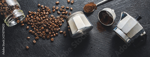 Ingredients for making coffee flat lay - 276719420