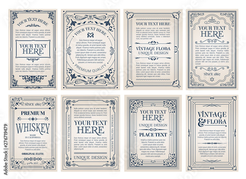 Vintage creative cards template with beautiful flourishes ornament elements Wallpaper Mural