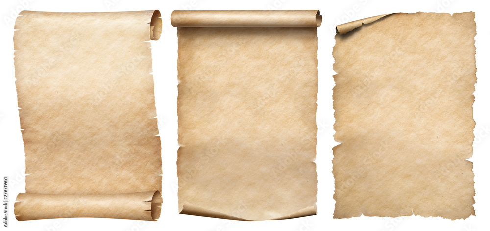 Fototapety, obrazy: Three vintage paper or parchments collection isolated on white