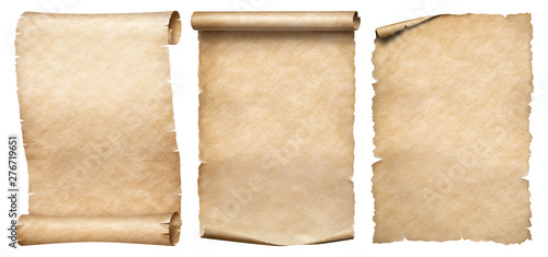 Fotografie, Obraz Three vintage paper or parchments collection isolated on white