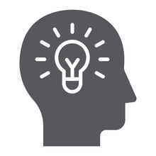 Human Idea Glyph Icon, Creativity And Solution, Light Bulb In Head Sign, Vector Graphics, A Solid Pattern On A White Background.