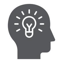 Human Idea Glyph Icon, Creativ...