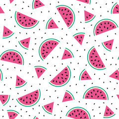 Watermelon cartoon seamless pattern. Baby and kids style abstract geometric background. Colorful vector illustration.  Funny watermelons. Cute kawaii smiling watermelons