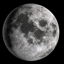 Full Moon In High Resolution  Isolated On Black Background.