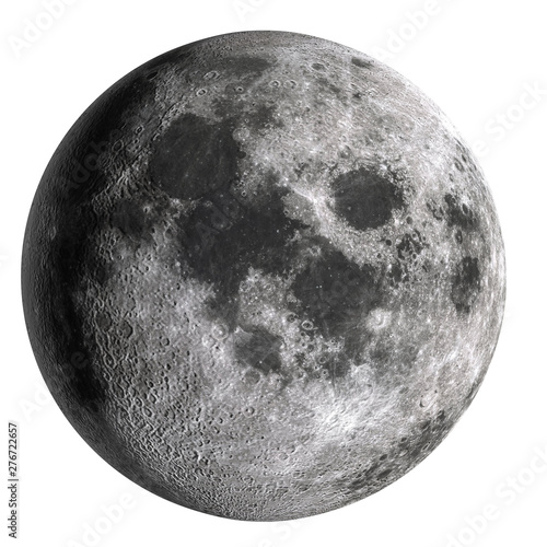 Canvas Print Full moon in high resolution  isolated on white background.