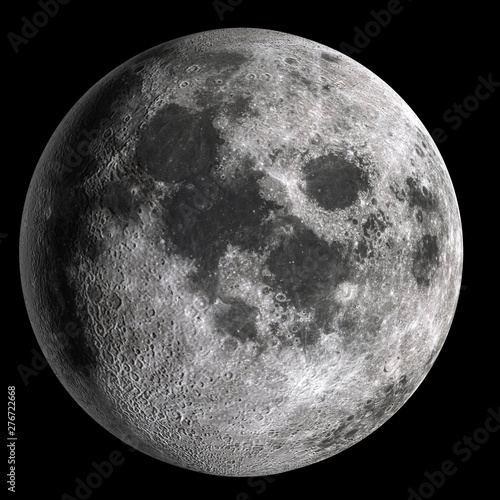 Full moon in high resolution  isolated on black background. Poster Mural XXL