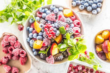 Frozen Fruits Blueberries Blackberry Raspberry Red Currant Peach And Herbs Melissa