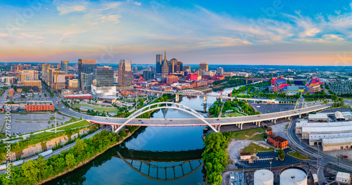 Fototapety, obrazy: Nashville Tennessee TN Aerial Panorama