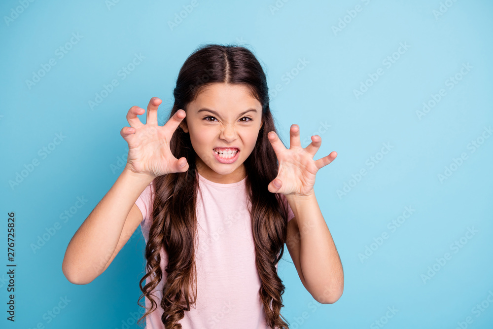 Fototapety, obrazy: Portrait of evil small naughty kid like wild animal show teeth have fun joy funky funny cute dressed fashionable clothing isolated on blue background