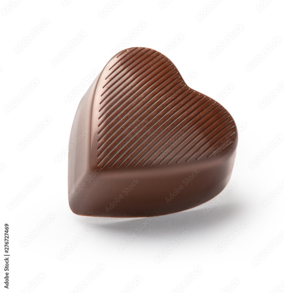 Fototapety, obrazy: chocolate candy  heart on a white background