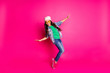 canvas print picture - Close up photo beautiful little age she her curly lady cool arms hands action motion disco party amazing look long hairdo wear yellow specs casual jeans denim jacket isolated pink bright background